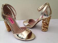 NEW! Betsey Johnson BRANDY Metallic Gold Sequined Block Heel Sexy Sandals 7 $109