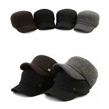 Unisex Mens Womens Mqum Plain Color Tweed Casual Military Cadet Cap Trucker Hats