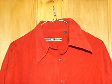 VINTAGE R.I. Clothing Company RED shirt big collar size large mens cowboy 1970s