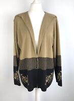 Vintage Cardigan Size 14 16 black & camel Granny Fugly Striped Floral 80s