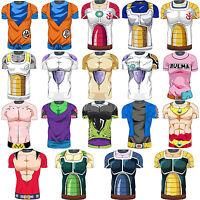 Men's Dragon Ball Z Vegeta Son Goku T-Shirt Short Sleeve Sport Gym Top Clothes