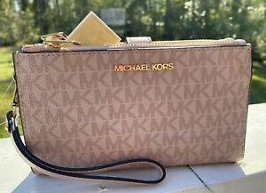 Michael Kors Jet Set Travel Large Double Zip Phone Wristlet Pink MK Signature