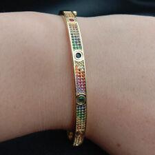 rainbow cubic zirconia micro pave 18k gold filled cuff Bangle Bracelet Roman