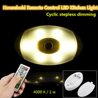 6Pcs LED Light Wall Ceiling Under Cabinet Corridors Lamp Remote Control 4000K 1W