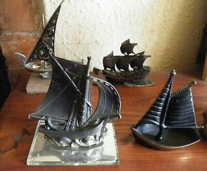 small sailing ship ornaments in pewter,brass,etc.