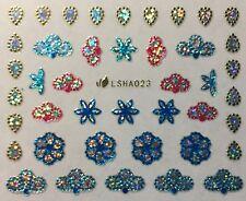 Nail Art 3D Glitter Decal Stickers Sparkle Metallic Flowers & Petals LSHA023