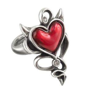 ALCHEMY DEVIL HEART RING Pewter Red Enamel and Swarovski GOTHIC + VELVET POUCH