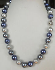 12mm Pretty blue silver Gray Shell Pearl Round Beads Necklace 18""