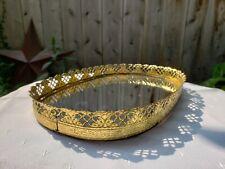 "Gold Ormolu Mirrored Dresser Tray / Vanity Tray 10"""