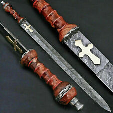 CUSTOM MADE DAMASCUS STEEL BLADE SURVIVAL, COMBAT DAGGER SWORD