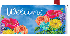 Welcome Pattern Posies Flowers Magnetic Mailbox Cover