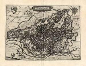 Antique Map-GENT-GHENT-GAND-BELGIUM-Guicciardini-1588
