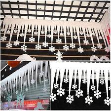 2 pcs Bande Flocon De Neige Glace Blanc Pour Noël Fenêtre Décoration Fête Xmas