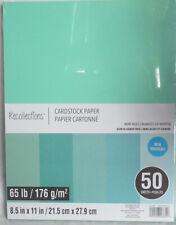 "Recollections Cardstock Paper 8 1/2"" x 11"" 50 Sheets 65 lb 5 Color Mint Hues"