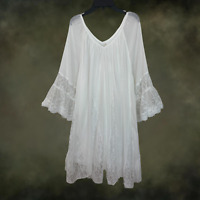 Plus Size Vintage Peasant BOHO GYPSY  White Laced Ruffle DRESS TUNIC XL 1XL 2XL