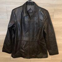 Valerie Stevens Genuine Black Lamb Leather Jacket Zip Front Sz M