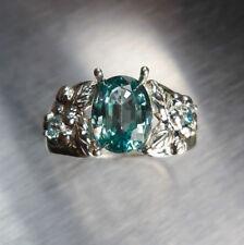 Anelli di lusso con gemme blu argento sterling Misura anello 7