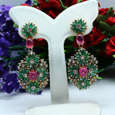 NATURAL RED RUBY, GREEN EMERALD & WHITE ZIRCON CAMBODIA EARRINGS 925 SILVER