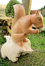 More details for fair trade hand made carved wooden parasite garden squirrel ornament sculpture