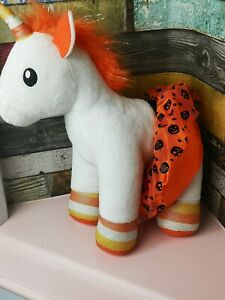 "build a bear candy corn unicorn in halloween dress 13"" orange and white"
