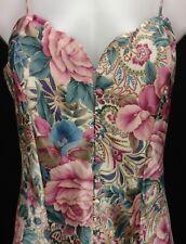 Victoria Secret Sz M satin floral rose iris nightie Vtg 70's nightgown chemise