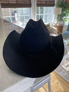 """Vintage John B. Stetson XXXX 4X Beaver Black Cowboy Western Sz 7 1/8"""" Long Oval"""