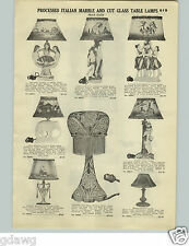 1928 PAPER AD Mermaid Appolo Dafu Dancing Girls Processed Italian Marble Lamps