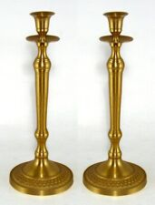 "Candle Holder Antique Gold Finish on Brass Candlestick 4.75""Dia 12""High Pair"