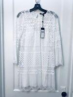 BCBG MAX AZRIA LONG BELL SLEEVES CROCHET WHITE SHIFT DRESS NWT SIZE XXS $298.00