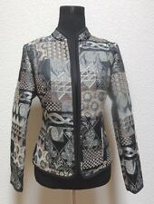 RENAISSANCE WOMENS JACKET BLAZER SZ S SMALL MULTI COLOR GEOMETRIC OPEN FRONT LS