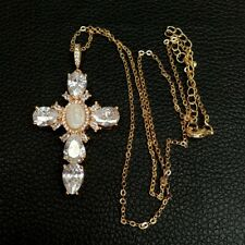 """17.5""""Virgin Mary Cross Pendant necklace shell pearl Cubic Zirconia Necklace"""