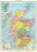 SCOTLAND. Showing counties. 1938 old vintage map plan chart