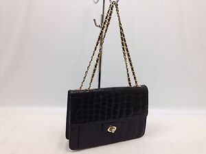 Embossed Patent Leather Gold Tone Chain Black Shoulder Party Bag 5L090710""