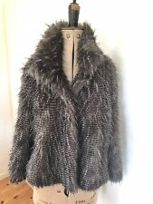 Ladies Next 3/4 Sleeve Black Grey White Faux Fur Jacket UK16