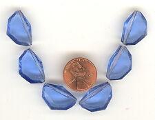 6 Vintage Sapphire Faceted Art Deco Tin Cut Glass Bead Pendants 18x12mm P152