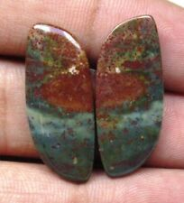 NATURAL BLOOD STONE CABOCHON FANCY SHAPE PAIR 20.10 CTS LOOSE GEMSTONE D 5814