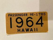 1964 Hawaii License Plate Expiration WINDSHIELD STICKER