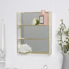 Gold mirrored display shelf decorative vintage modern shelving unit boho chic