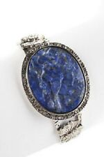 "AMY KAHN RUSSELL STERLING SILVER CARVED LAPIS CUFF 7"" BRACELET HSN $399 SOLDOUT"