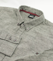 Dr Denim Chambray Worker Chore Shirt Mens Size M Medium Cotton Grey Long Sleeve
