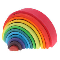 Wooden Rainbow Stacking Blocks Fun Building Nesting Toys for Baby Toddler