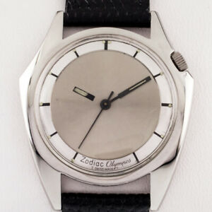 Zodiac Stainless Steel Olympos Automatic Watch w/ Mystery Dial and Leather Band