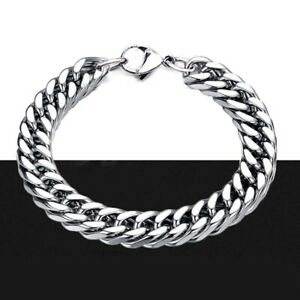 "Heavy Solid Stainless Steel Mens Jewelry Cuban Link Chain Bracelet 8.5"" 10mm"