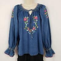 Vintage New Direction Denim Boho Top Blouse Women's Small Blue Floral Embroidery