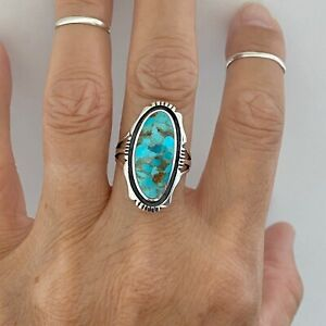Sterling Silver Large Oval Genuine Turquoise Ring, Statement Ring, Silver Ring