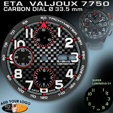 DIAL CARBON FOR MOVEMENT ETA VALJOUX 7750, TACHYMETER RING, BLACK-RED, Ø 33.5mm