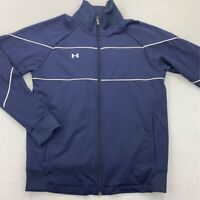 Under Armour Mens Track Jacket Blue Full Zip Up Pockets Stretch Mesh Lined XS
