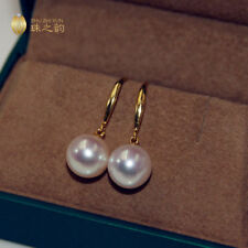 AAA++ 11-12mm real natural south sea white round pearl earrings 18k Yellow Gold