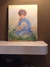 Rowenna Anderson ORIGINAL Girl Bichon Maltese Dog Art Oil Painting SIGNED 16x20