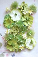 Mixed Styles Paper & Silk GREEN - 28 FlowerPk 25-95mm across Njoyfull Crafts H21